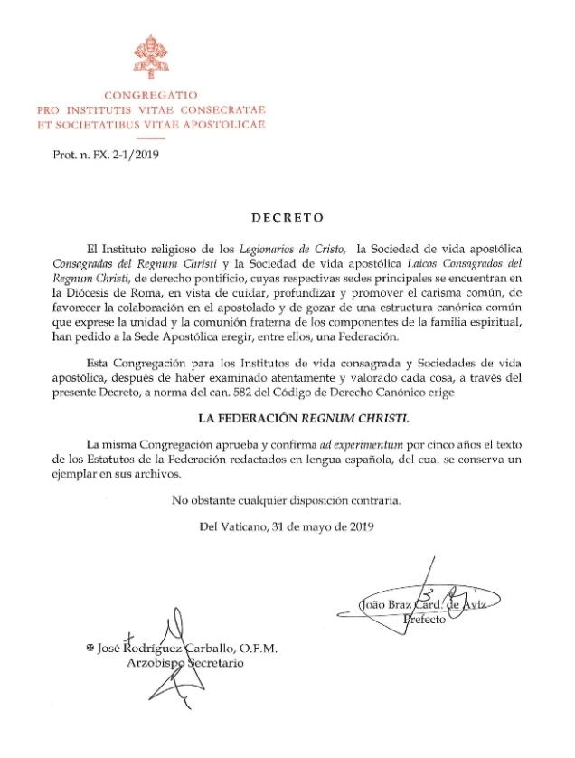 2019-05-31, Dekret, Errichtung der RC-Föderation 01